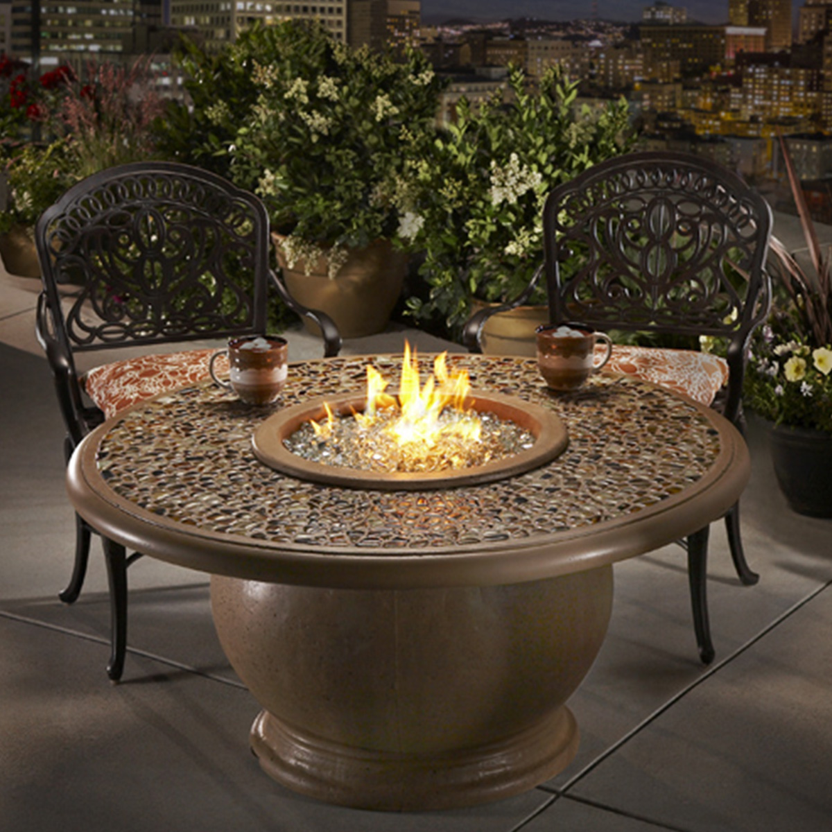 Amphora Firetable with Artisan Glass Product Image